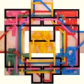 2007, Labyrinth 07/9 cm 100x95, acrylic on canvas on poplar panels