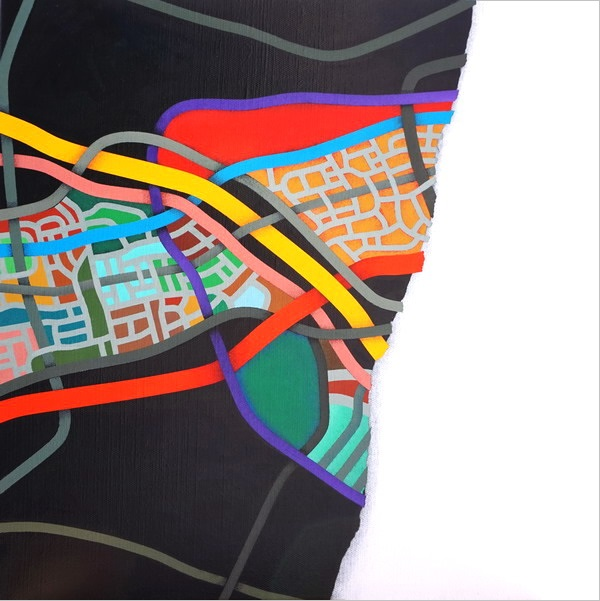 2006, Interrupted territory (2), 40x40 cm, acrylic on canvas