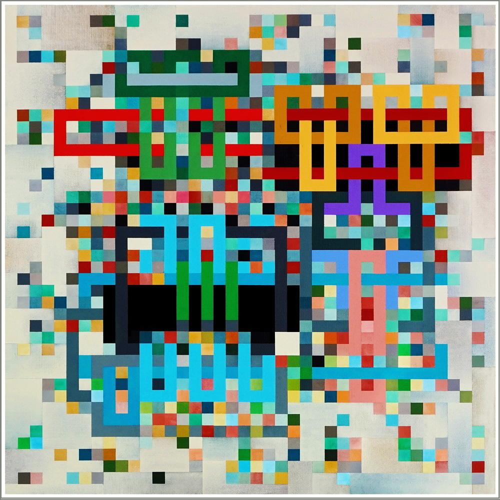 2020,  UNDER CONSTRUCTION, QR Code,  acrylic on linen canvas, 80 x 80 cm