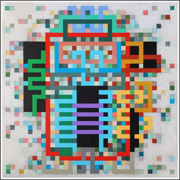 2020,  UNDER CONSTRUCTION, QR Code, acrylic on linen canvas on poplar panel, 40 x 40 cm
