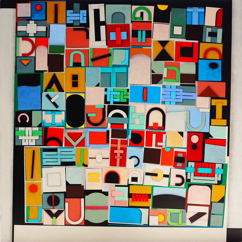 TRAVEL NOTES (appunti di viaggio),  Acrylic color on linen canvas, 80x80 cm