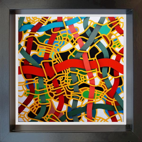 2020, The yellow net (La rete gialla),  digital processing, 20x20 cm, single copy on watermarked Fabriano paper, 100x100 cotton