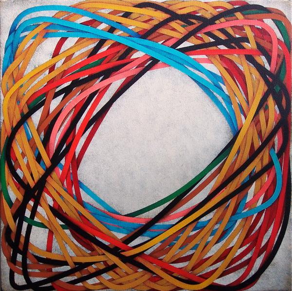 2011, The blue string (Il laccio azzurro), 30x30 cm, acrylic on linen canvas on poplar panel    ( priv. coll.)