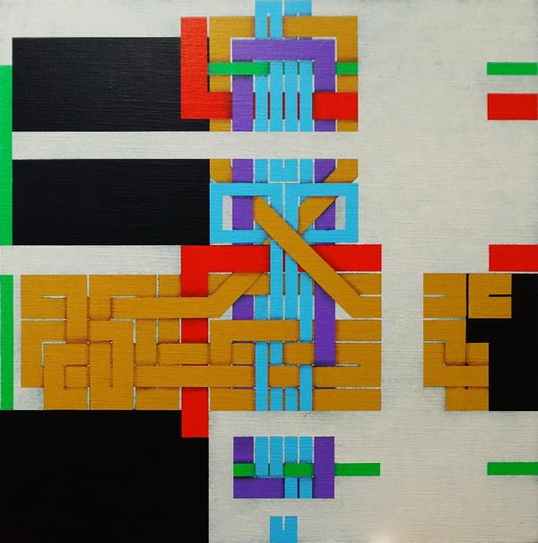 2019,  Under construction (9), cm 40x40, acrylic on linen canvas on poplar panel   .
