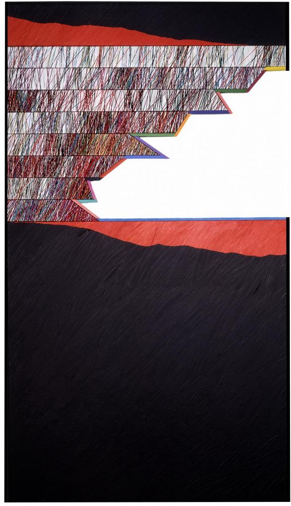 1982, enchanted sea, cm 66,5x117, acrylic and cotton yarn on panel (priv.coll.)