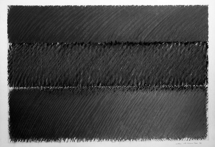 1977, black 6, cm 100x70, charcoal, graphite, oil dry on paper