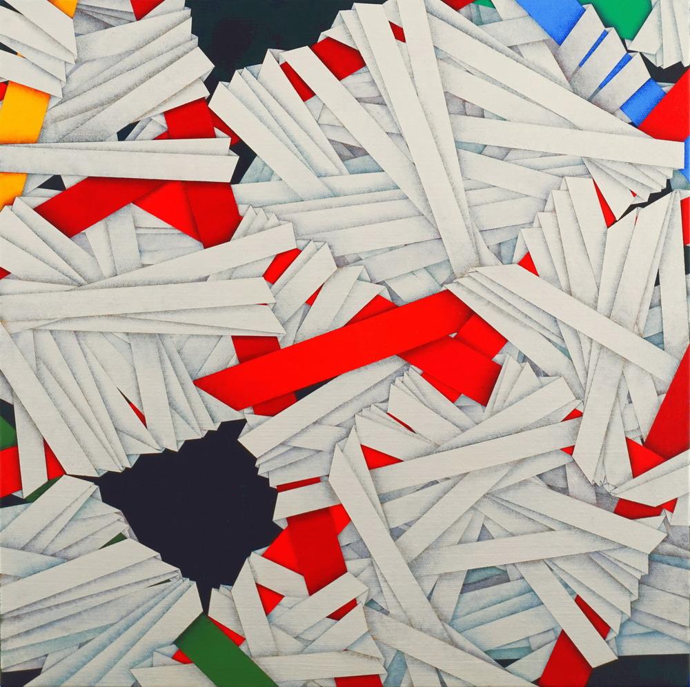 2003, Ligature, cm 40x40, acrylic on linen canvas on poplar panel
