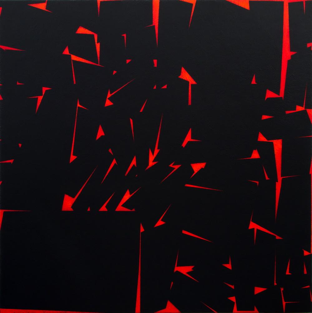 "2012, Terrae motus"",  slate, acrylic and pumice of Lipari on linen canvas, 100x100 cm"
