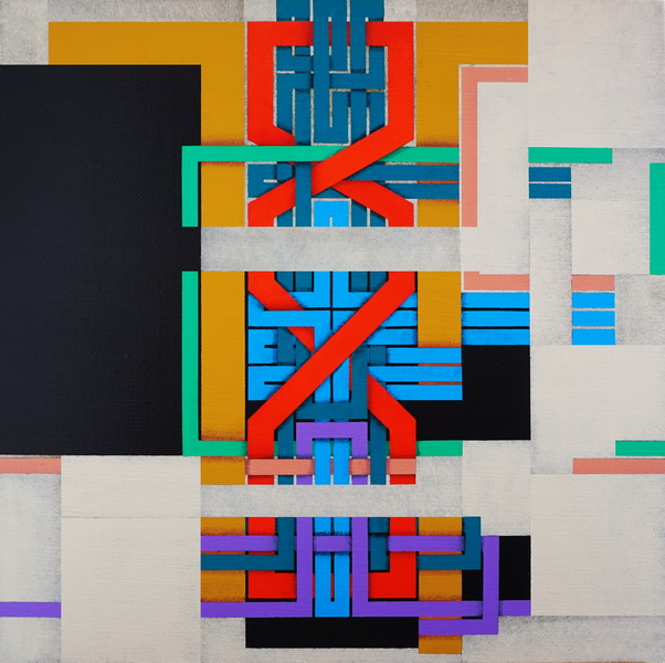 2019, Under construction, cm 40x40, acrylic on linen canvas on poplar panel
