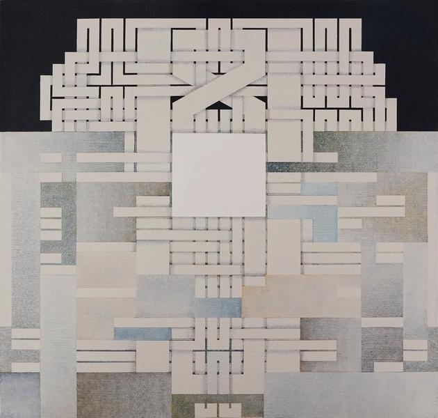 2019, Under construction, cm 40x40, acrylic on linen canvas on poplar panel