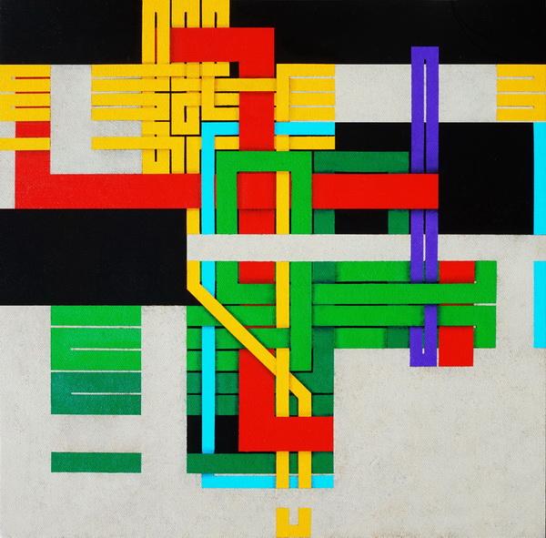 2019, Under construction  (Terminal), cm 40x40, acrylic on linen canvas on poplar panel