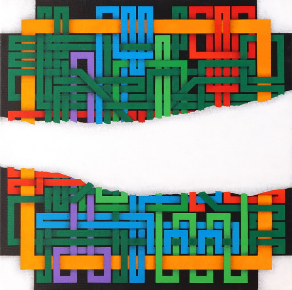 2009, Fault / Faglia (interrupted labyrinth, 016/8), 40x40 cm, acrylic on canvas