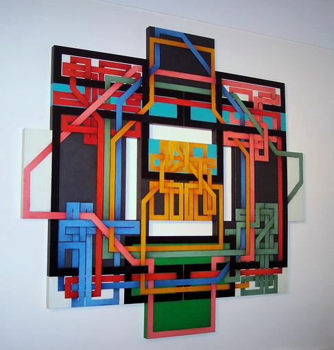 2008, Labyrinth 07/15, cm 165x155x4, acrylic on canvas on poplar wood panel